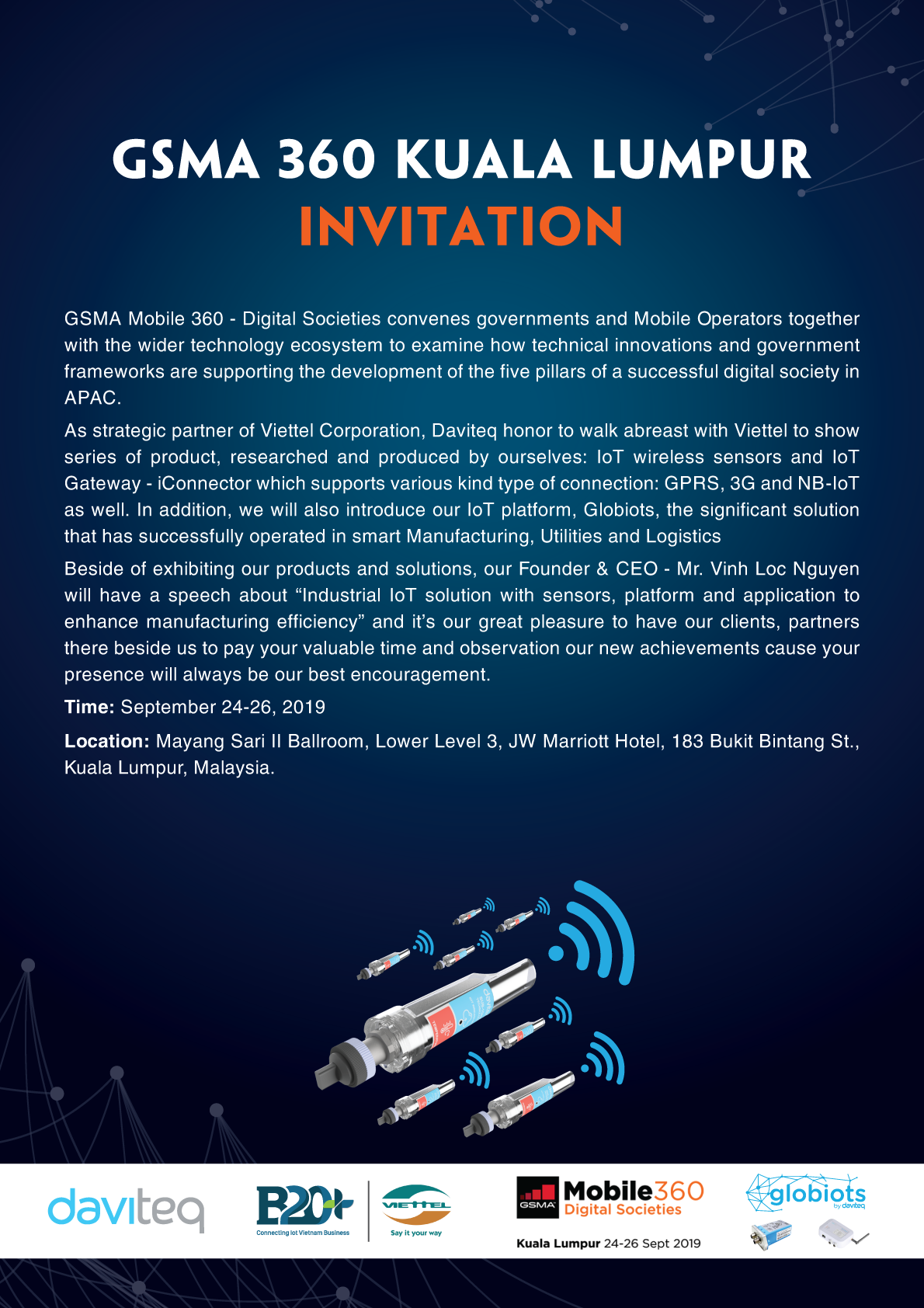 Thư mời tham gia GSMA 360 – 2019, Kuala Lumpur – Malaysia